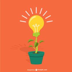 Pot où la fleur est représentée par une ampoule qui symbolise l'idée de création su site Liloshopping.re